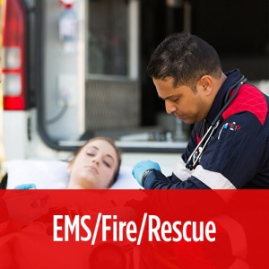 EMT using our emergency evacuation devices for hospitals